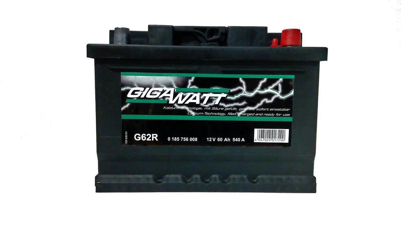 akumulator gigawatt 60ah 540a akumulatory krak w. Black Bedroom Furniture Sets. Home Design Ideas